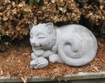 Large Concrete HAPPY CAT Statue