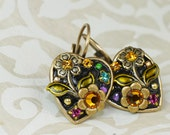 Michal Golan Small Heart Floral Earring
