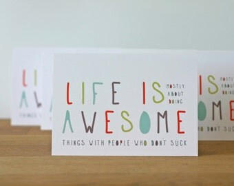 Funny Birthday Greeting Card - Awesome Poster - Life is Awesome Card Colorful Humourous Birthday Just Because for Friend