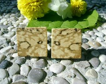 WOODEN CUFFLINKS Square Spalted Black HORNBEAM Wood Handcrafted Wooden Cufflinks