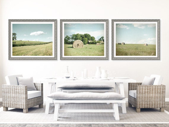 Landscape Photography Set, nature prints, country home decor photo set, hay rolls, country,  green, field, blue, fence, rustic, cottage chic