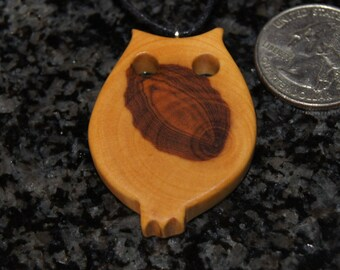 Olive Wood Pendant, wood jewelry, wood grain,owl
