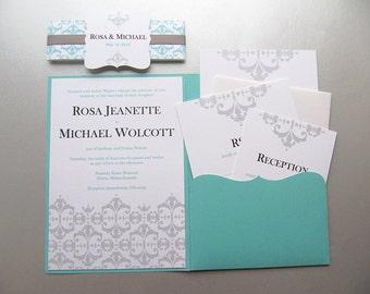 Aqua Blue Wedding Invitation. Turquoise and Silver Wedding  - Sample