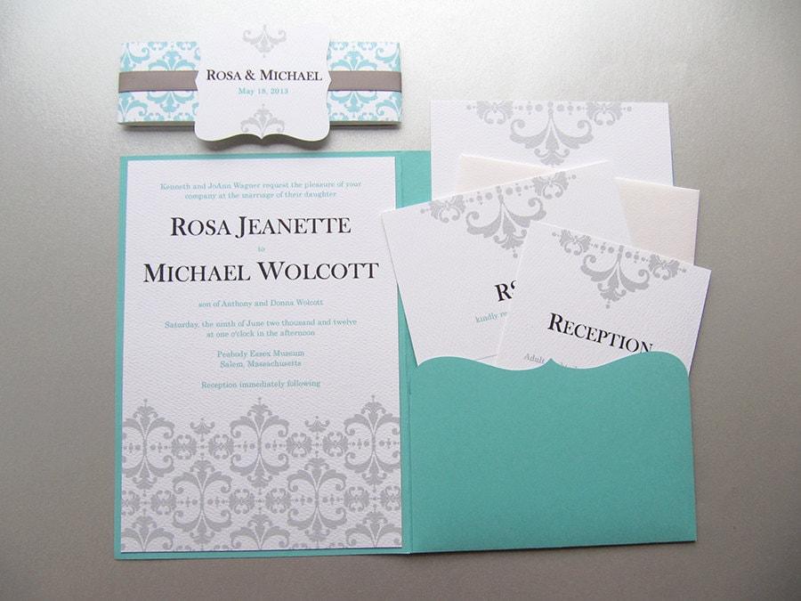Wedding Invitations Turquoise: Aqua Blue Wedding Invitation. Turquoise And Silver Wedding