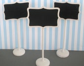 5 Chalkboard Stands / White Wood Finish Name Place Settings Buffet Table Weddings Birthdays Food Labels Table Markers