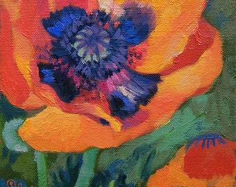 Oil Painting of Poppy Flower
