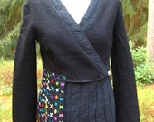 WOOL JACKET Boiled Wool Wrap Jacket Black Embroidery Recycled Upcycled