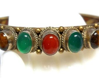 Vintage Handcrafted Multi Gemstone Cuff Bracelet