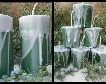ENCHANTED EVERGREEN Votive Candle ~ Birthday Candle ~ Cedar Juniper Pine Essential Oils