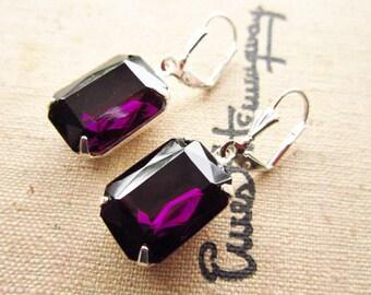 Amethyst Earrings Dark Purple Amethyst Earrings Estate Style Vintage Earrings ~ Purple Wedding Jewelry