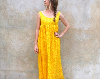 1970s orange and yellow Hawaiian maxi dress- 70's Malama Petite Hawaiian long dress- small