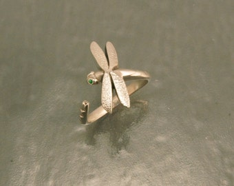 dragonfly  ring , silver.  pick your eye color