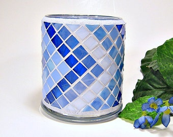 Stained glass mosaic votive candle holder shades of blue