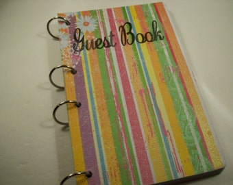 Guest Book, Stripes and Daisies Party, Artsy Party, Rainbow Party, Groovy Vintage Party, Party Autograph Book, Spa Party Guest Book