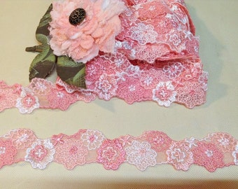 Delicate Pink Embroidered Flower Tulle Lace Trim