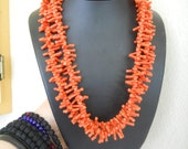Faux Coral Vintage Super Light Weight Adjustable Double Strand Necklace