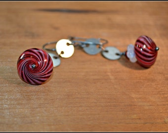 Red and White Stripes Earrings Glass and Steel Earrings