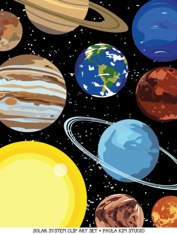 Solar System Art Outer Space Clipart Instant Digital Download