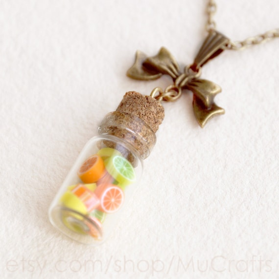 Dainty miniature citrus fruit pendant necklace