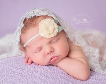 Heirloom Rose Headband in Cream - Wool Felt Flower Headband
