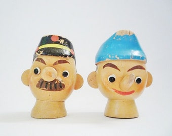 2 Vintage Wooden Hand Puppets Heads