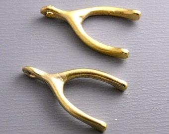 18k Gold Filled Wish Bone Charm - 1 pc