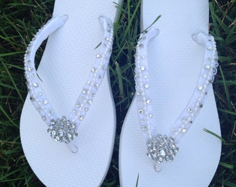 Bridal Flip Flops - Tropical Destination Beach Wedding Designer Bridal Flip Flops