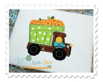 Pumpkin Dump Truck Applique