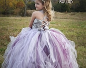 Silver raised rosette satin with Plum, purple, lavender and silver tulle ....Flower Girl Dress..Vintage Photography Prop..Made to Order