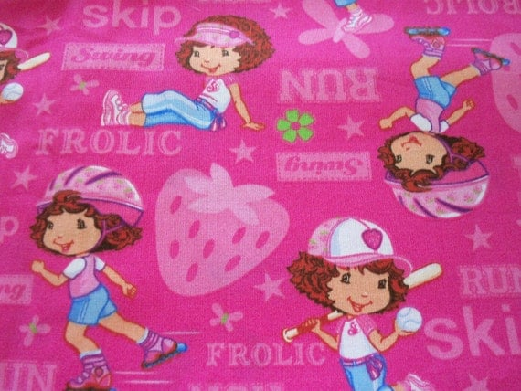 Fabric Strawberry Shortcake Playing Baseball Skating Running