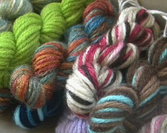 Scrap yarn mini skeins. 6 mini skeins with 10 yds each  in a mix of colors. Yarn scraps for scrap booking, classroom projects, crazy afghans