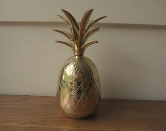 Brass pineapple lidded box.  Hollywood Regency style brass pineapple.  8.5 inch brass pineapple lidded box.