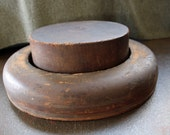 RESERVED for Katerina VINTAGE Wooden Man's Hat Mold #4 - 2 piece solid wood industrial accessory