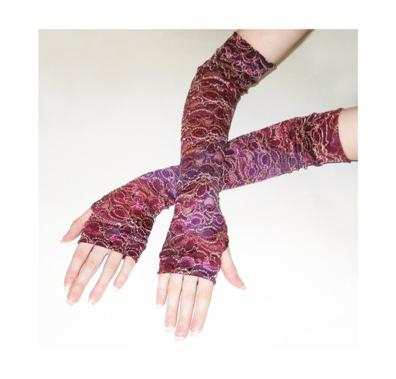 Arm Warmers Floating on Raspberries Fingerless Gloves with floral flower lace print gothic gypsy style belly dancing maroon purple red boho