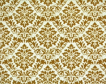 Retro Flock Wallpaper by the Yard 70s Vintage Flock Wallpaper - Gold Flock Damask