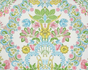 Vintage Wallpaper by the Yard 70s Retro Wallpaper - 1970s Colorful Damask with Pink Blue Green Yellow and White