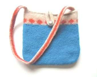 """Felt bag/Felt tote """"Colmar"""", pure new wool, vintage metal button, knitted, felted, cerulean, blue, cream, coral pink, OOAK, one of a kind"""