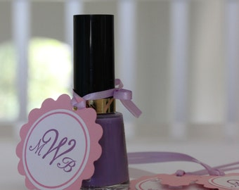 Monogrammed Baby Shower or Bridal Shower Favor Tags for Nail Polish - Lavender and Pink - Double Sided