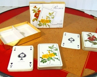 Vintage Piatnik Playing Cards Set of 2 Decks - Retro Rosier Red & Yellow Roses Design - Made in Austria - Upcycle Repurpose Scrap Booking