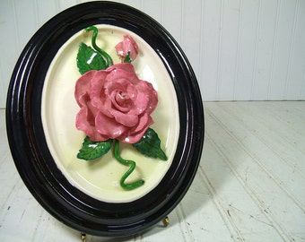 Vintage Ceramic Pink Roses Relief Framed Oval Wall Hanging - Shabby Cottage Chic Mauve 3 Dimensional Floral Art - Work Signed Claire Harris