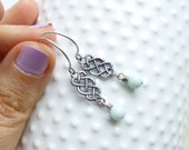 Clearance - Sale.... Antiqued Silver Basket Weave Earrings.... Choose Your Stone