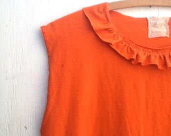 Costume tatteryBright orange shirt, party resort swim cover up tattered gypsy eco boho gypsy shabby girl tee shirt