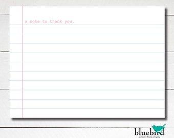 A6 Notepaper thank you flat card note - Loose leaf paper Instant Download DIY Printable