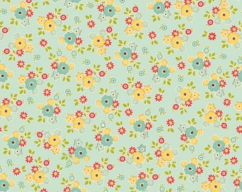 Sidewalks by October Afternoon for Riley Blake Designs - Small Floral in Teal - 1/2 Yard