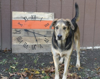 Large Wall Clock. Reclaimed Pallet Wood. Orange Striped. Folk. Rustic. Modern.  Simple. CUSTOM paint color or finish.