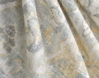 Made to order. One pair of window curtains, pleated top, no lining. Covington Jaipur Serenity