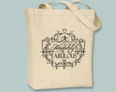 "Vintage Frame ""Absolutely Fabulous"" Typography Illustration on Canvas Tote - Selection of sizes ANY IMAGE COLOR available"