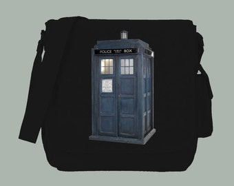 British Blue Police Box Dr. Who Inspired  Messenger Bag, 15x11x4