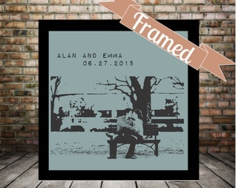 Engagement Gift Personalized Photo Custom Silhouette FRAMED Art Personalized Engagement Gifts Unique Engagement Gift for Her Gift for Him