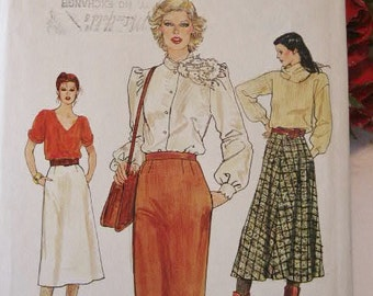 Vintage Very Easy Vogue 80s Misses A Line Flared or Pencil Straight Skirt 7444 Sewing Pattern Size 10  Waist 25